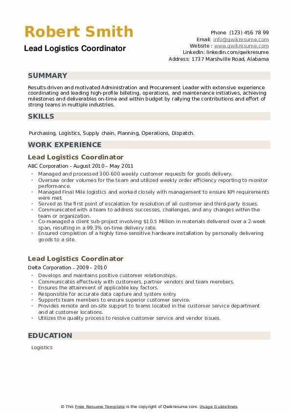 Lead Logistics Coordinator Resume example