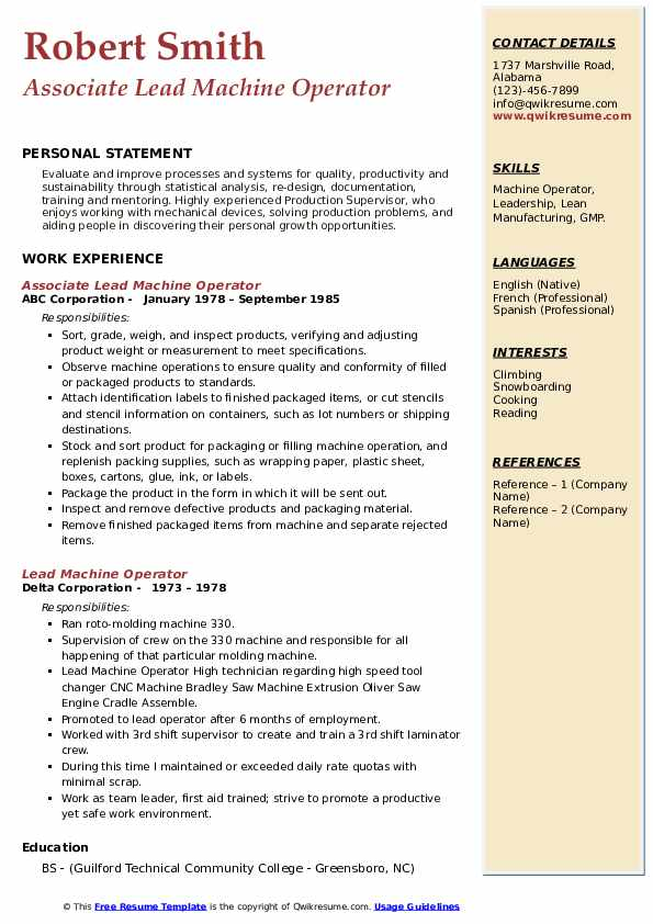 Lead Machine Operator Resume example