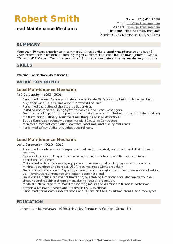 Lead Maintenance Mechanic Resume example