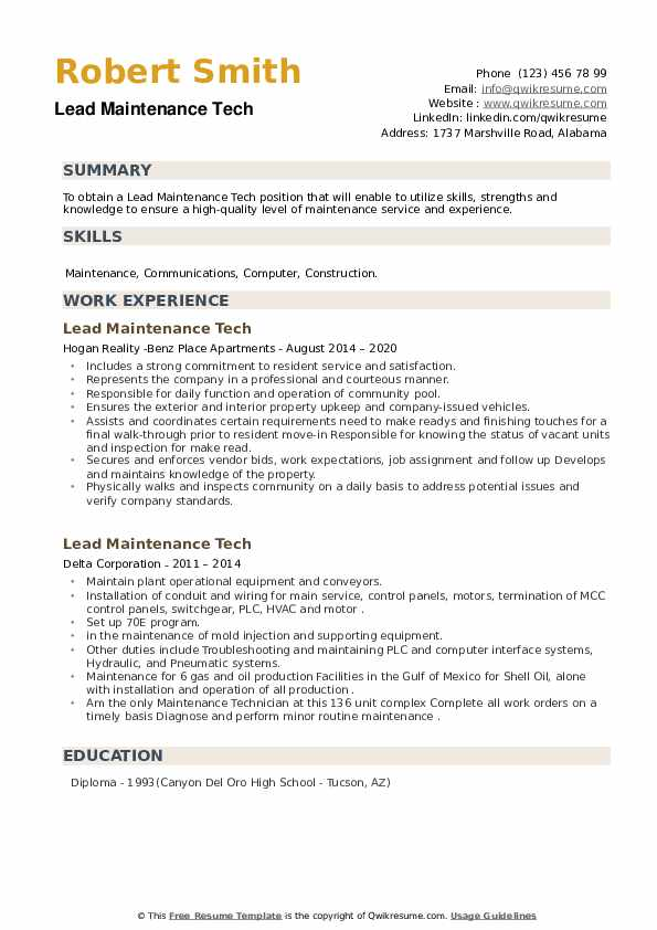 Lead Maintenance Tech Resume example