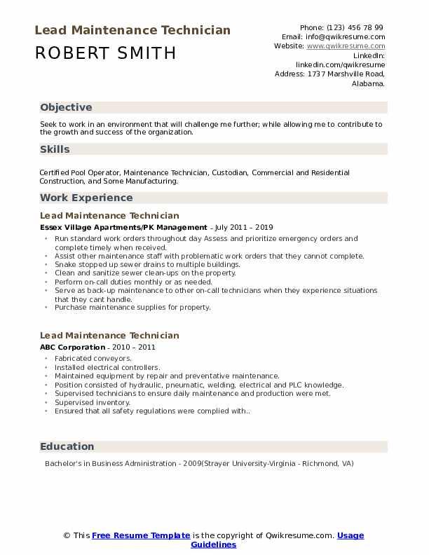 Lead Maintenance Technician Resume Model