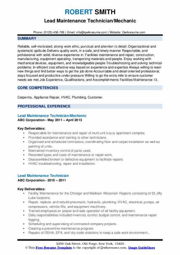 Lead Maintenance Technician/Mechanic Resume Model