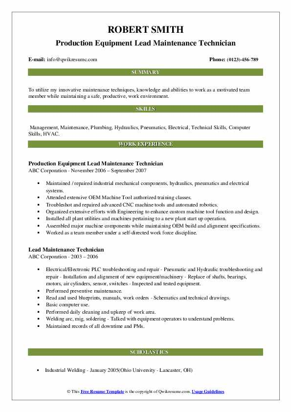 Production Equipment Lead Maintenance Technician Resume Example