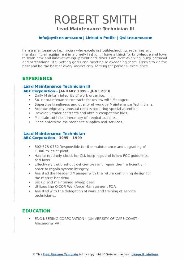 Lead Maintenance Technician III Resume Example
