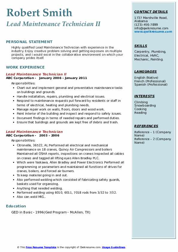 Lead Maintenance Technician Resume Samples Qwikresume