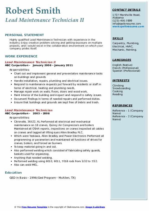 Lead Maintenance Technician II Resume Format