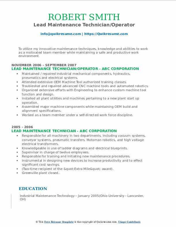 Lead Maintenance Technician/Operator Resume Sample