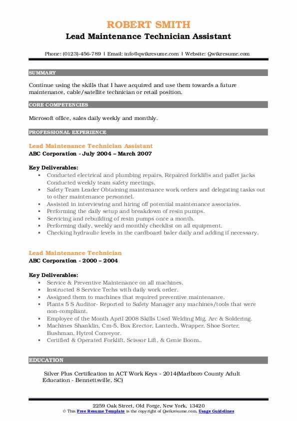 Lead Maintenance Technician Assistant Resume Example