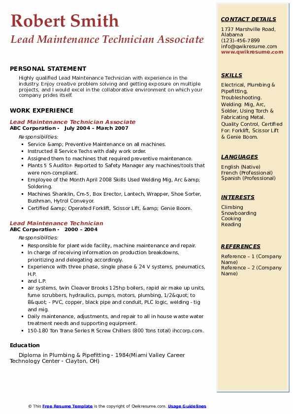 Lead Maintenance Technician Associate Resume Model