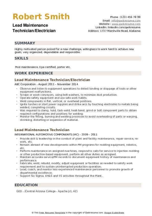 Lead Maintenance Technician/Electrician Resume Model