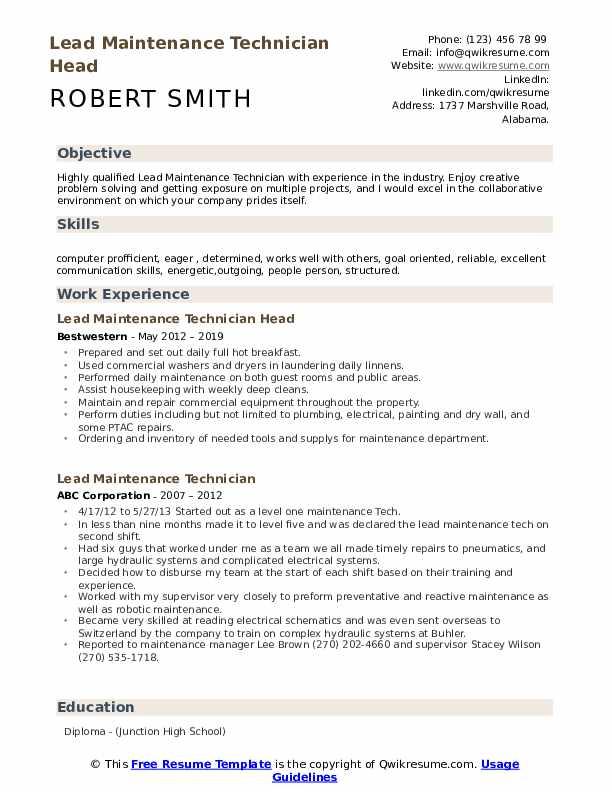 Lead Maintenance Technician Head Resume Template