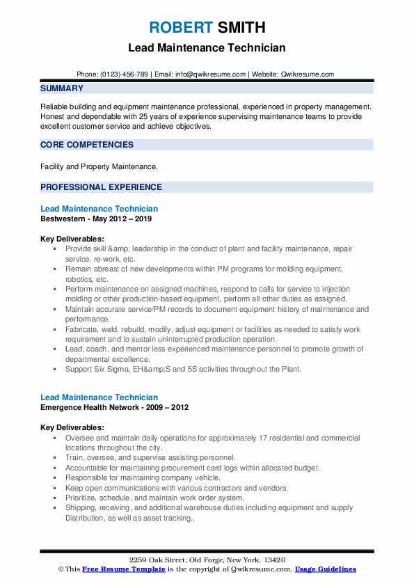 Lead Maintenance Technician Resume example