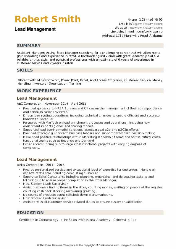 Lead Management Resume example