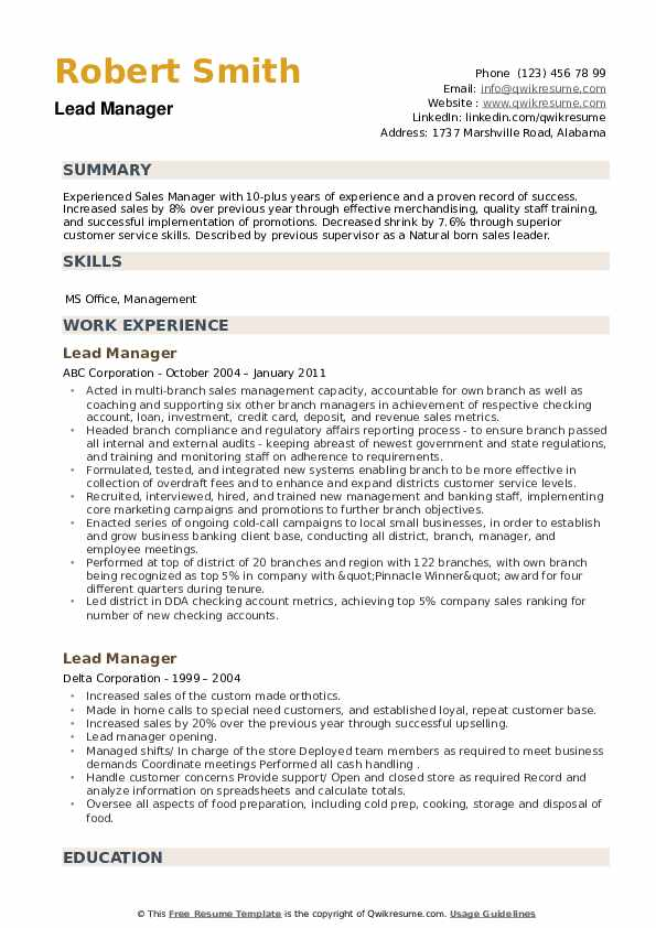 Lead Manager Resume example