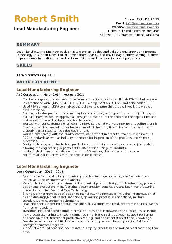Lead Manufacturing Engineer Resume example