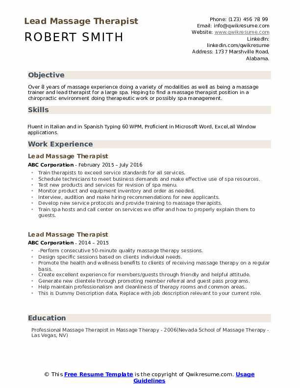 Lead Massage Therapist Resume example
