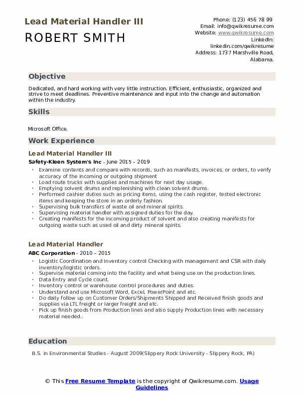 Lead Material Handler III Resume Template