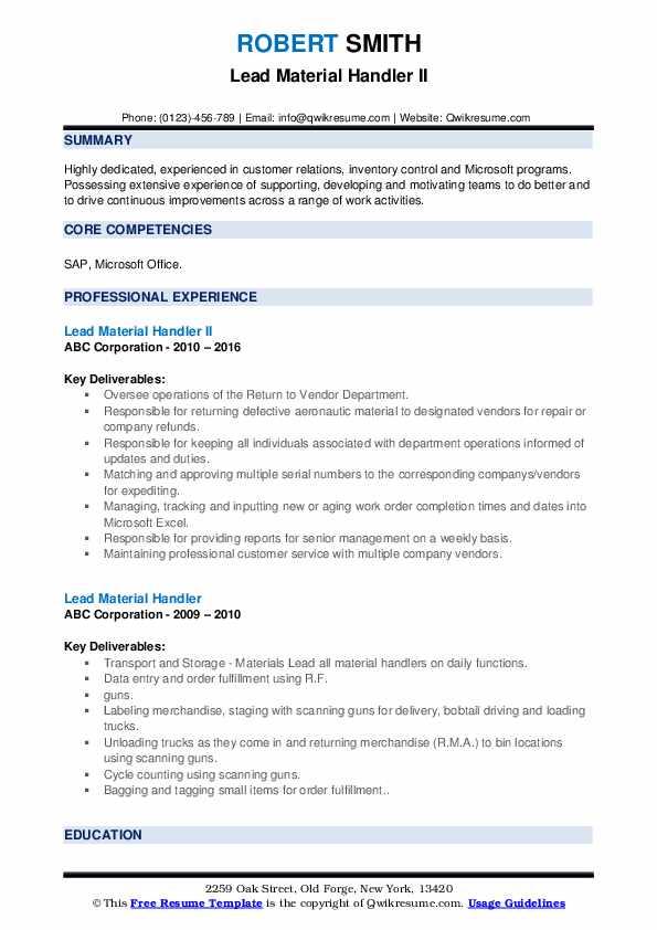 Lead Material Handler II Resume Template