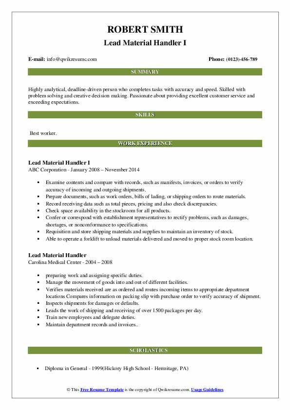 Lead Material Handler I Resume Example