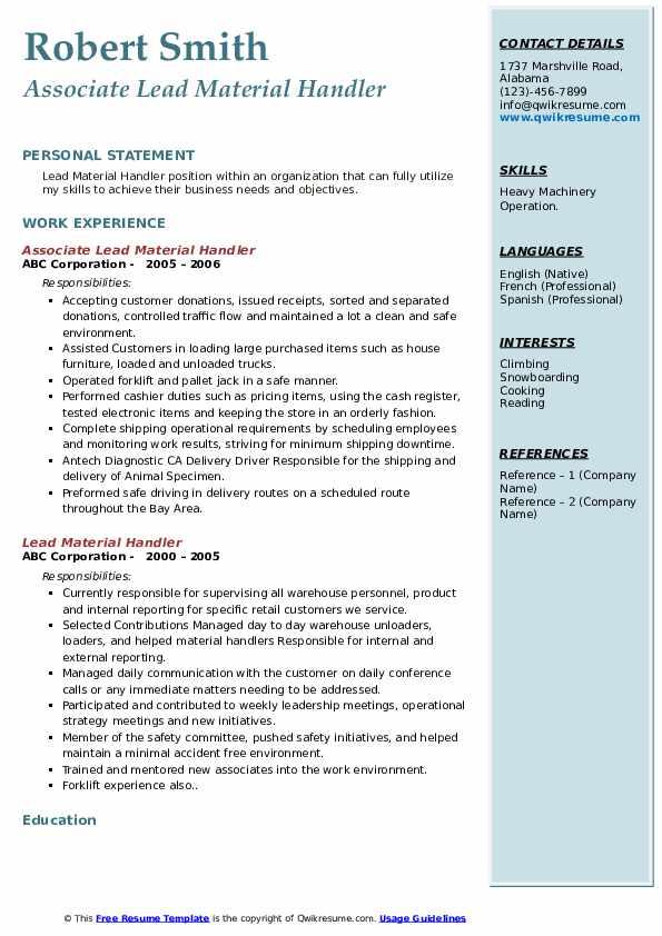 Associate Lead Material Handler Resume Template