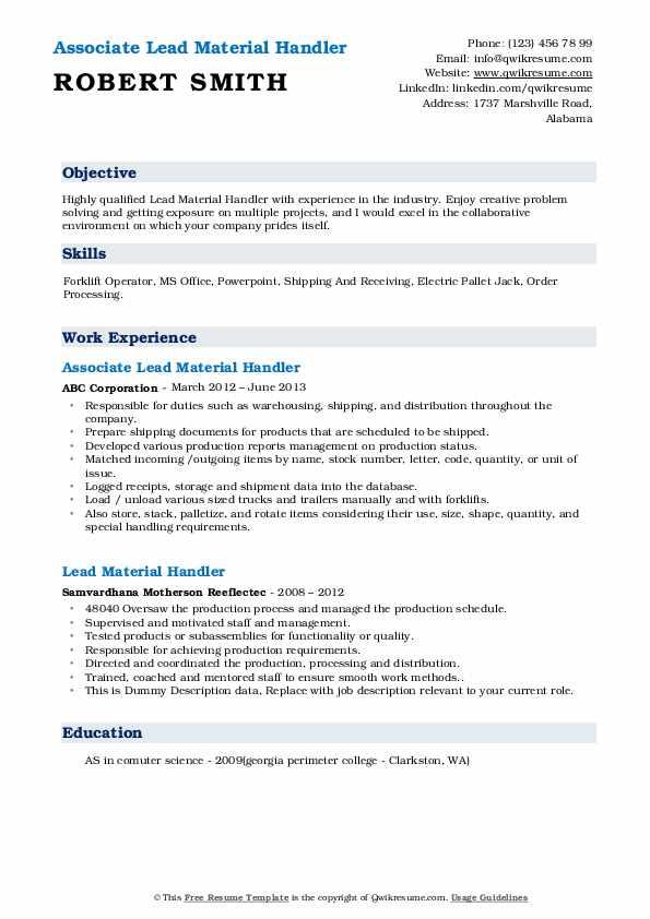 Associate Lead Material Handler Resume Model