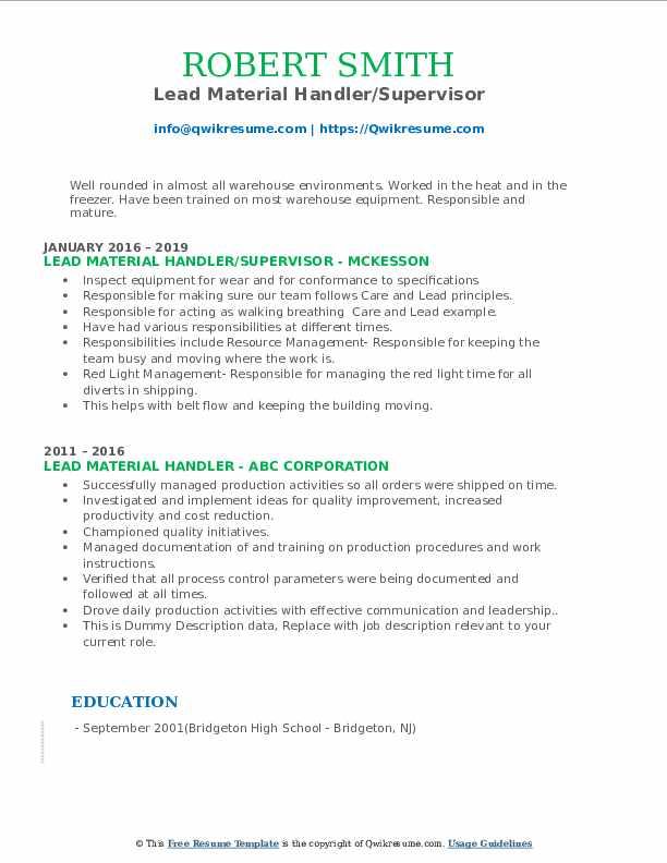 Lead Material Handler/Supervisor Resume Example