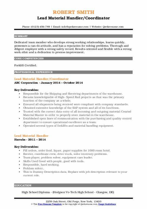 Lead Material Handler/Coordinator Resume Template