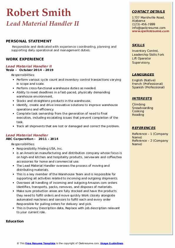 Lead Material Handler II Resume Format