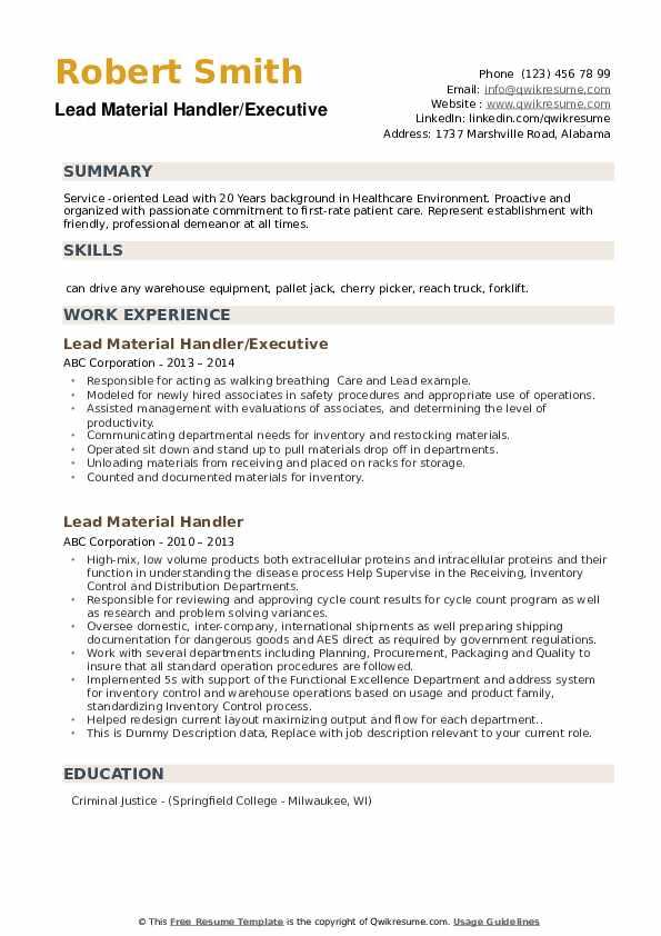 Lead Material Handler/Executive Resume Sample