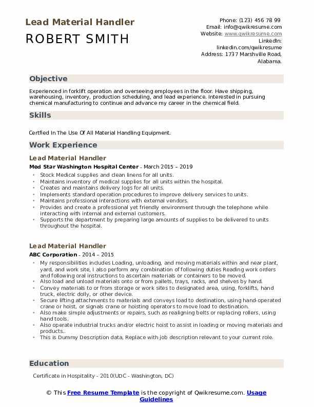 Lead Material Handler Resume example