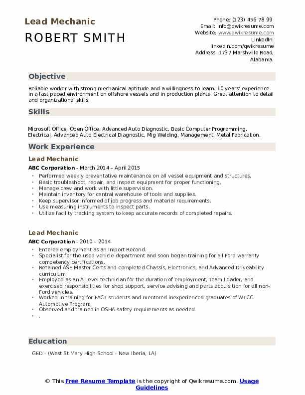 Lead Mechanic Resume Samples   QwikResume
