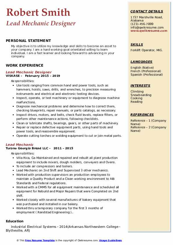 Mill Operator Resume example