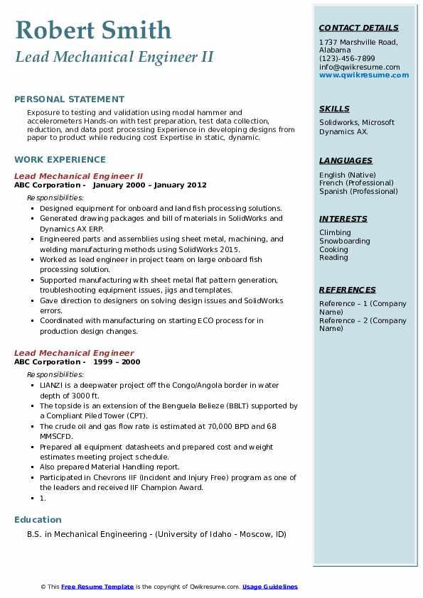 lead mechanical engineer resume samples