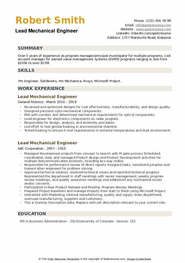 Lead Mechanical Engineer Resume Samples Qwikresume