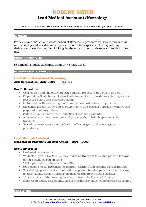 Lead Medical Assistant Resume Samples | QwikResume