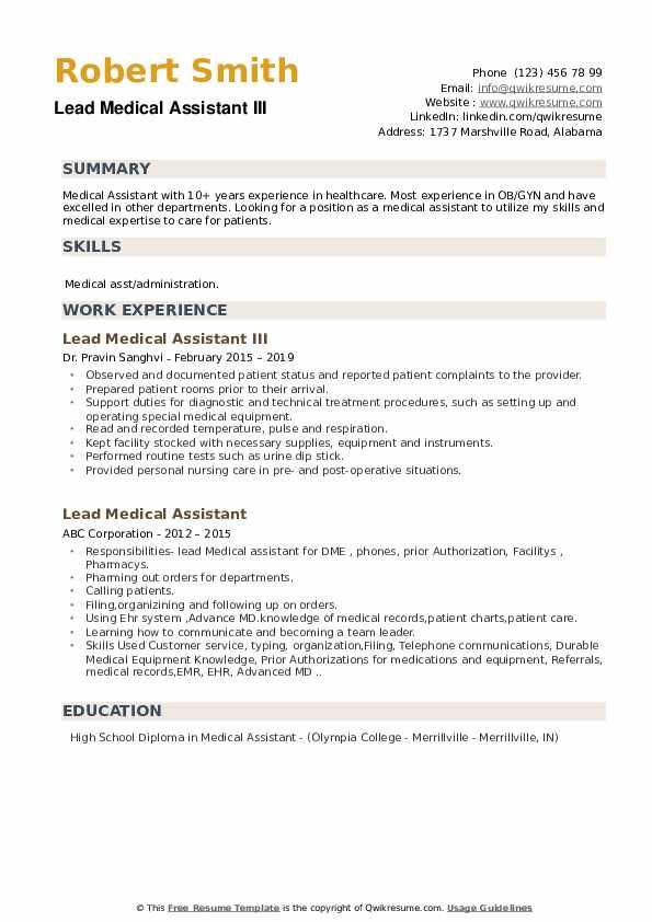 lead medical assistant resume samples