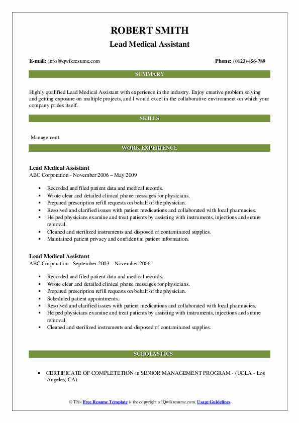 Lead Medical Assistant Resume example