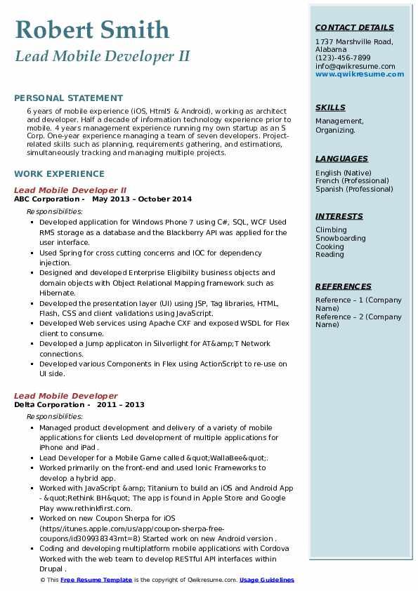 lead mobile developer resume samples  qwikresume