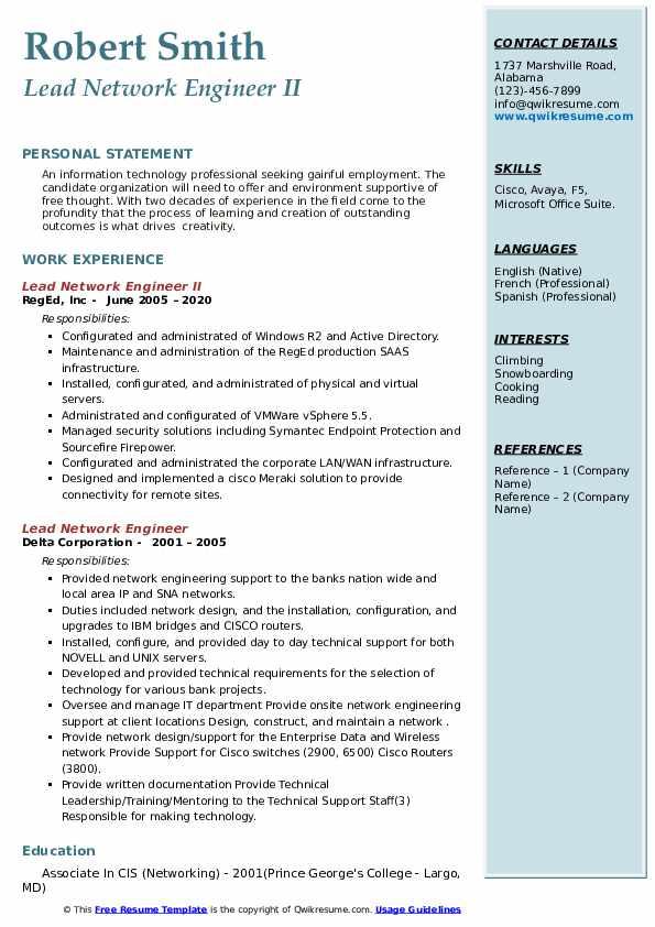 lead network engineer resume samples  qwikresume