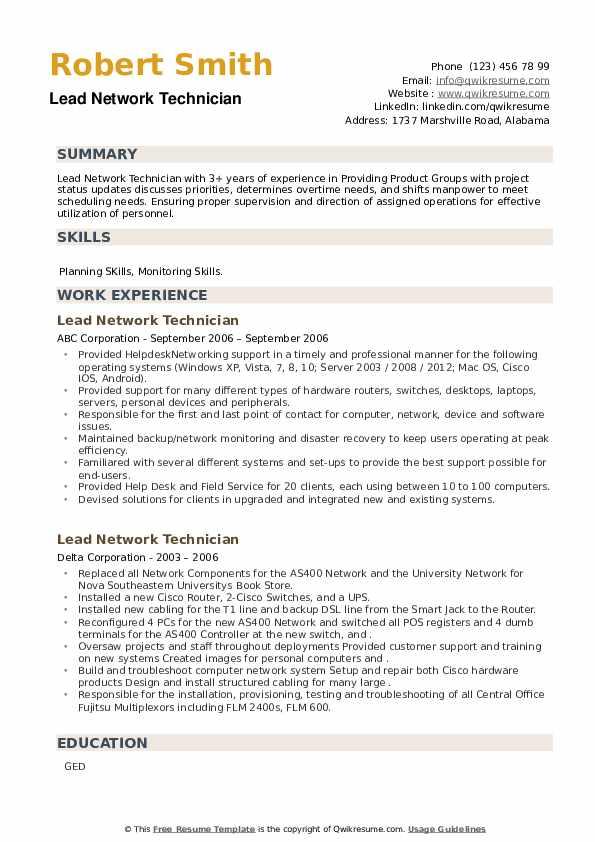 Lead Network Technician Resume example
