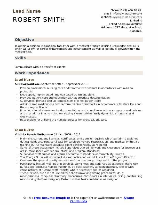 Lead Nurse Resume Model