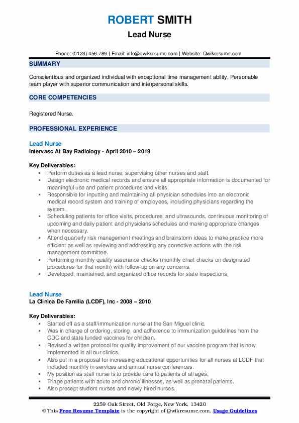 Lead Nurse Resume Template
