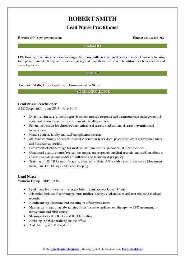Lead Nurse Practitioner Resume Model
