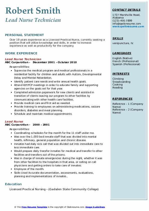 Lead Nurse Technician Resume Model