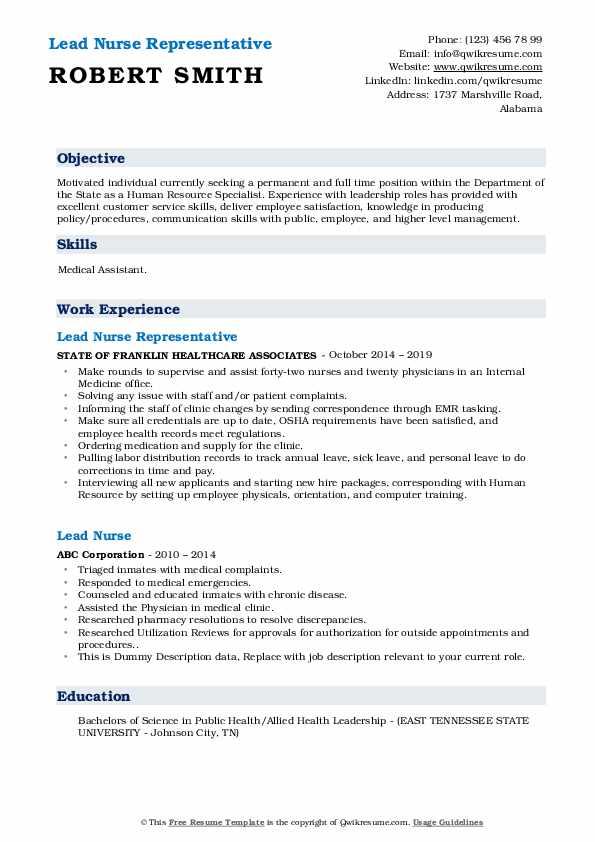 Lead Nurse Representative Resume Model