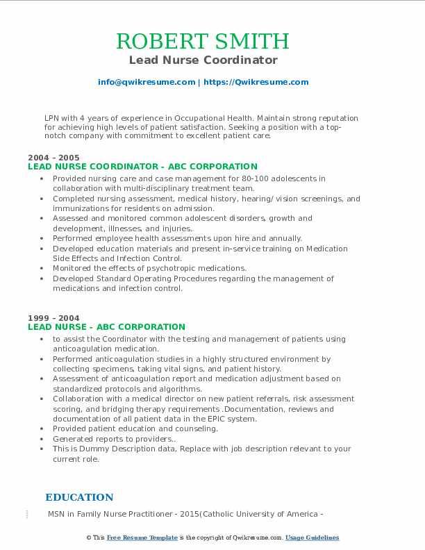 Lead Nurse Coordinator Resume Format
