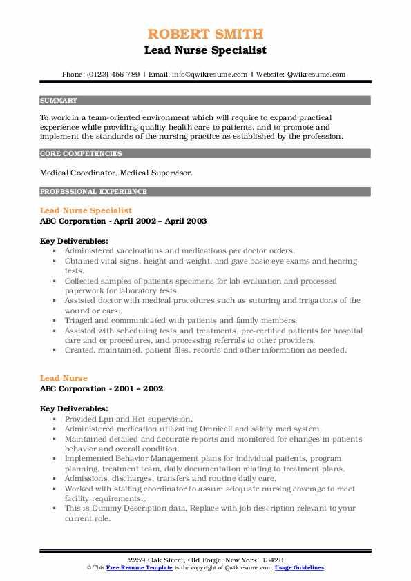 Lead Nurse Specialist Resume Sample