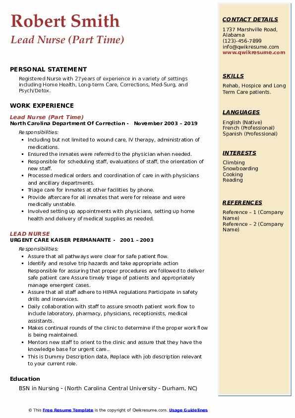 Lead Nurse (Part Time) Resume Sample