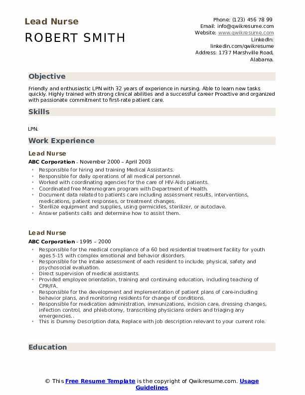 Lead Nurse Resume example