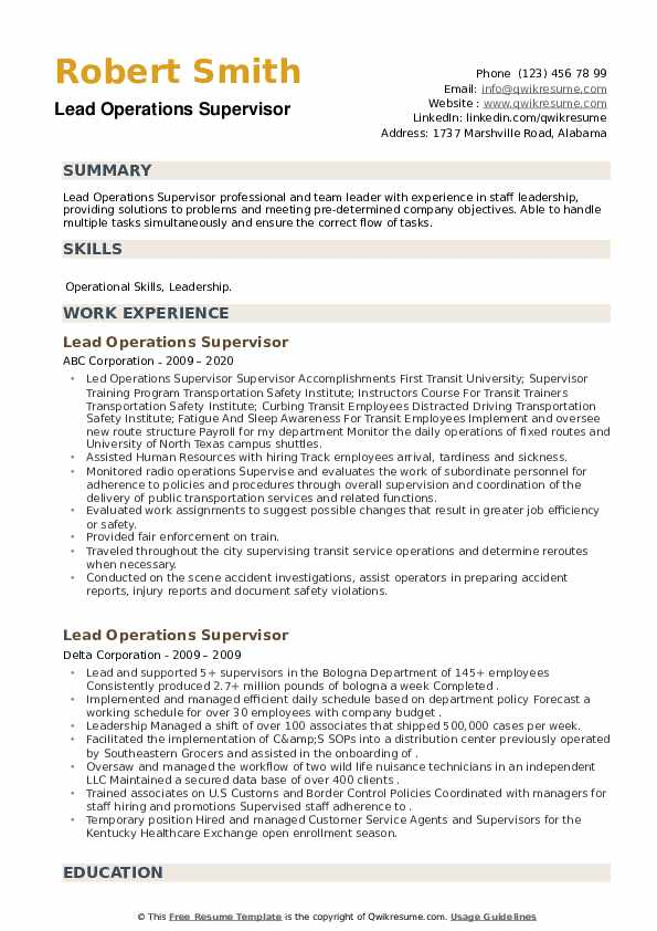 Lead Operations Supervisor Resume example